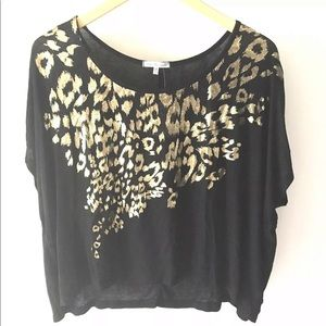 Charlotte Russe Leopard Top M Metallic Gold